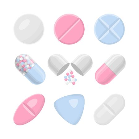 Pills and drugs vector colorful realistic icon set. Different shapes of pills Ilustracja