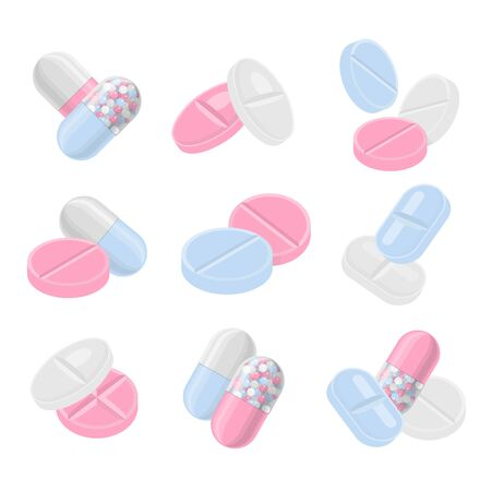 Pills and drugs vector colorful realistic icon set. Different shapes of pills compositions Zdjęcie Seryjne - 127604726