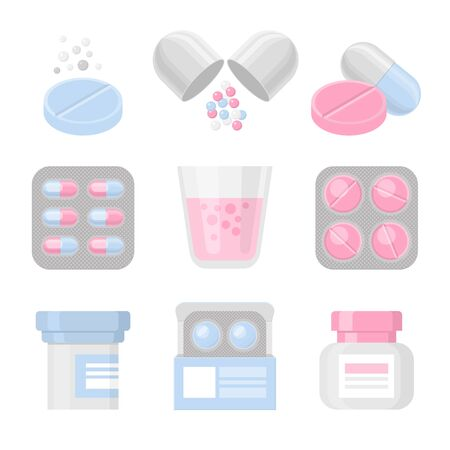 Medicine and pills vector colorful realistic icon set. Medical elements - drugs, packs, bottles.