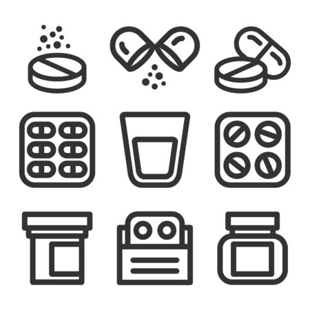 Medicine and pills vector line style icon set. Medical elements - drugs, packs, bottles.