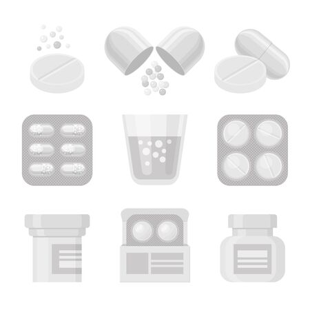 Medicine and pills vector white realistic icon set. Medical elements - drugs, packs, bottles.