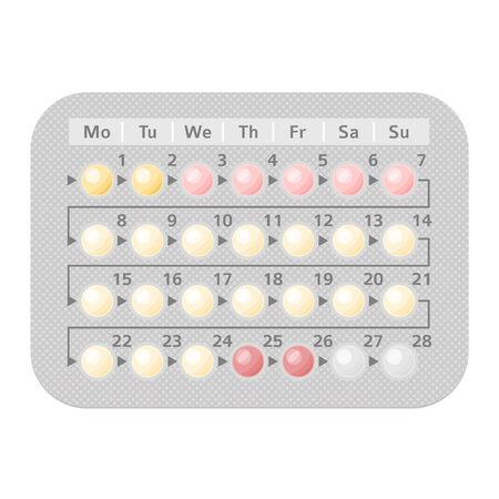Packagings of birth control and hormonal contraceptive 28 days pills. Women planning pregnancy oral contraception. Pharmacy isolated colorful realistic vector illustration
