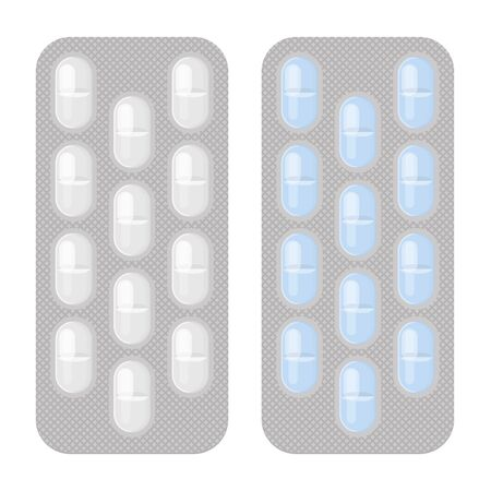 Blister packs long pills realistic vector set. Pharmacy isolated monochrome and colorful packagings. Aspirin, antibiotics, vitamin or painkiller drugs.
