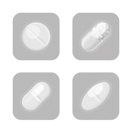Blister packs with different shape pills realistic vector set. Pharmacy isolated monochrome packagings. Aspirin, antibiotics, vitamin or painkiller drugs.