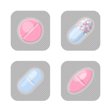 Blister packs with different shape pills realistic vector set. Pharmacy isolated colorful packagings. Aspirin, antibiotics, vitamin or painkiller drugs. Zdjęcie Seryjne - 127826828