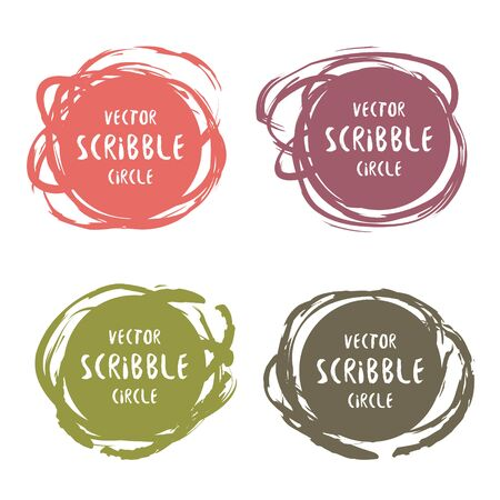 Hand drawn scribble colorful labels with text vector set. design and decoration elements