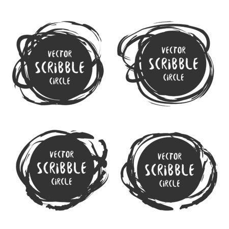 Hand drawn scribble labels with text vector set. design and decoration elements