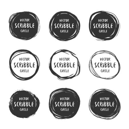 Hand drawn scribble circles and labels with text vector set. design and decoration elements