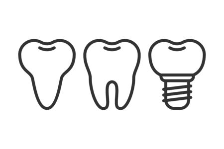 Cute teeth line style set with different tooth form. Flat vector tooth isolated illustration. Ilustracja