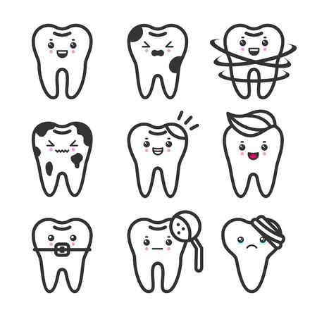 Cute teeth outline set with different emotions. Different tooth conditions. Healthy and bad teeth. Flat vector tooth isolated illustration. Illustration