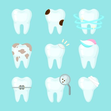 Cute teeth colorful set with different tooth conditions. Healthy and bad teeth. Cartoon vector tooth isolated illustration.