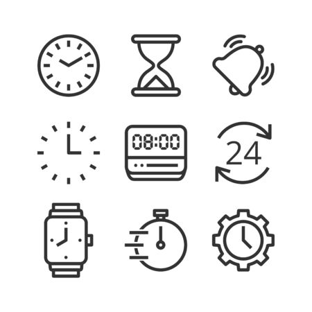 Time and clock isolated vector icon set. Linear pictograms on white background. Interface icons