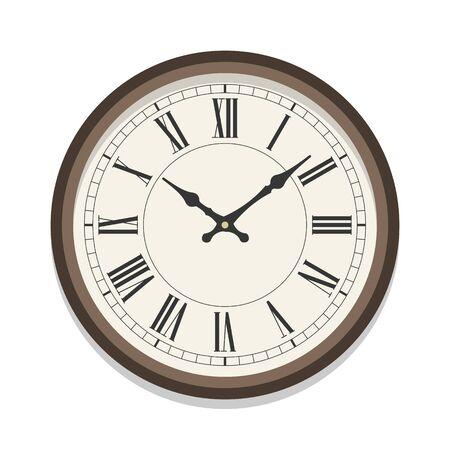 Retro roman clock icon, single isolated vector illustration. Office clock with numerals. Ten oclock. Иллюстрация