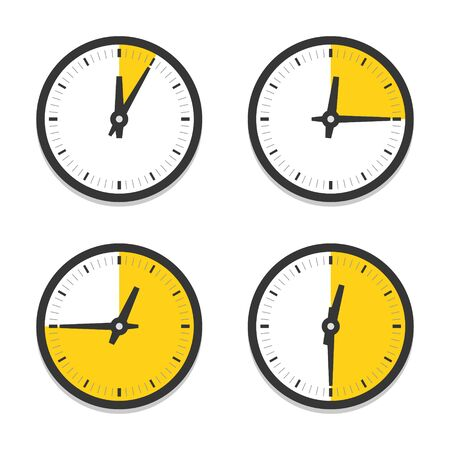 Clock icon with parts of hour vector icon set. Yellow sections on clock faces without numerals.