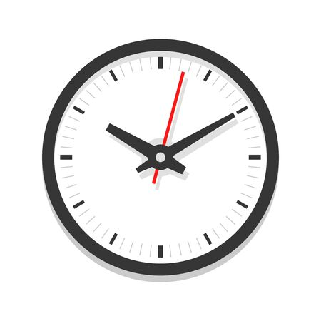 Modern white clock icon, single isolated vector illustration. Office clock without numerals. Ten oclock.