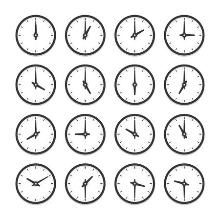 Set of clocks for every hour vector icon set. Isolated illustration on white background