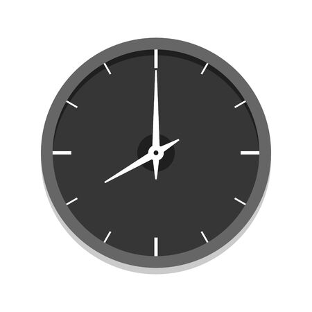 Modern black clock icon, single isolated vector illustration. Office clock without numerals. Eight oclock. Ilustração
