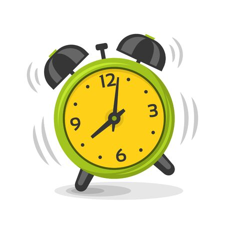 Ringing alarm clock with two bells vector illustration. Cartoon isolated dinamic image, green and yellow color morning alarm clock
