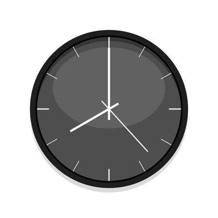 Minimalistic black clock icon, single isolated vector illustration. Office clock without numerals. Eight oclock. Иллюстрация