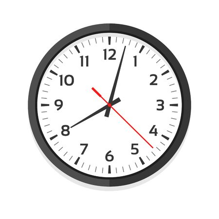 Modern white clock icon, single isolated vector illustration. Office clock with numerals. Ten oclock.