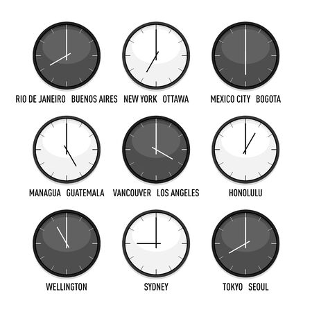 Set of clocks for every timezone vector icon set. 9 time zones for western hemisphere. Isolated illustration on white background