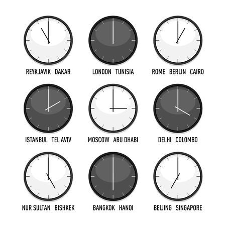 Set of clocks for every timezone vector icon set. 9 time zones for eastern hemisphere. Isolated illustration on white background Ilustracja