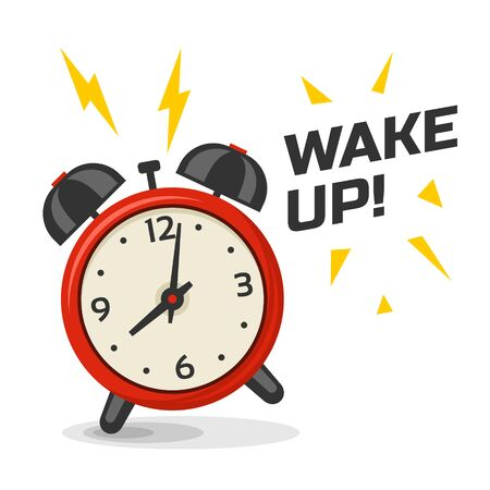Wake up alarm clock with two bells vector illustration. Cartoon isolated dinamic image, red and yellow color morning alarm clock