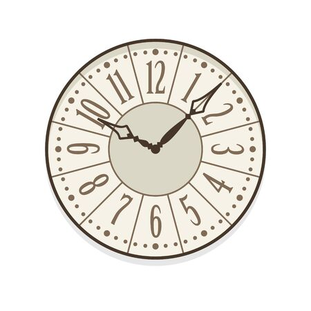 Provence and shabby chic clock isolated vector icon with numerals. Single isolated illustration. Ten oclock. Ilustracja
