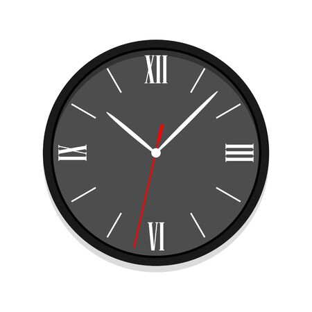 Black clock vector icon with roman numerals. Single isolated office clock vector illustration. Ten oclock.
