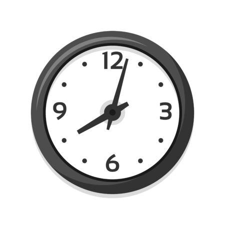 Simple white clock icon, single isolated vector illustration. Children clock with numerals. Eight oclock. Ilustração