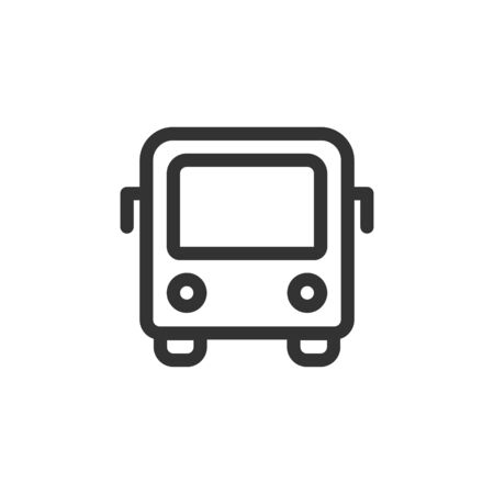 City bus front view vector outline style icon. Marking of public transport stops.