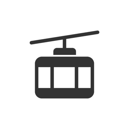 Cable car front view vector glyph style icon. Marking of public transport stops.