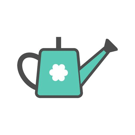 Watering can colorful vector icon, garden tool, equipment and accessory. Isolated single illustration.