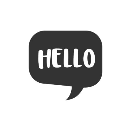 Speech bubble with short message vector icon. Single isolated sign on white background