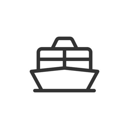 Cruise liner or ferry front view vector outline style icon. Marking of public transport stops. Ilustracja