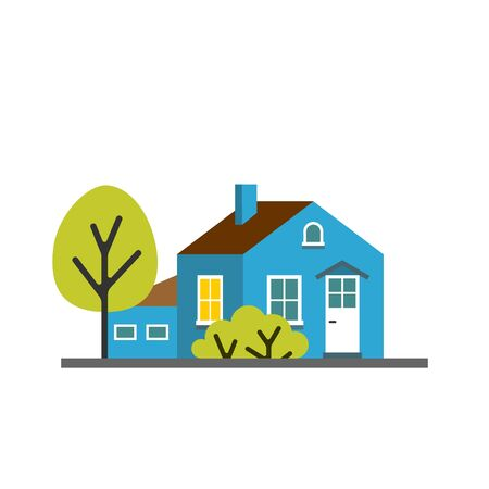 Small cartoon blue house with trees. Isolated vector illustration. Cute bright children illustration.
