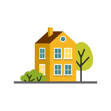 Small cartoon yellow house with trees. Isolated vector illustration. Cute bright children illustration. Stock Illustratie