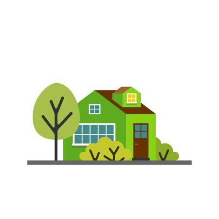 Small cartoon green house with trees. Isolated vector illustration. Cute bright children illustration. Ilustração
