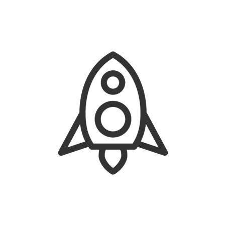 Rocket front view vector outline style icon. Marking of public transport stops.