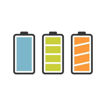 Battery vector icon set with colorful charge level indicators. Flat simple isolated icons
