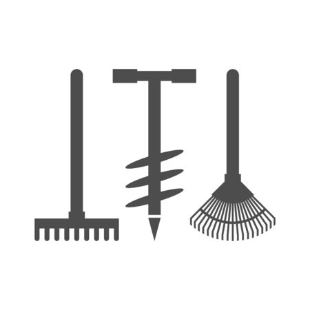 Rakes and drill black vector icon, garden tool, equipment and accessory. Isolated single illustration. Çizim