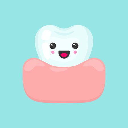 Cute colorful tooth in gum with happy emotion. Healthy teeth. Cartoon vector tooth isolated illustration.