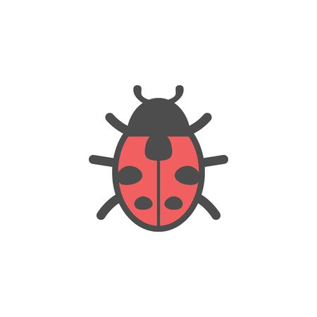 Ladybug insect colorful vector icon, nature simple illustration. Isolated single icon.