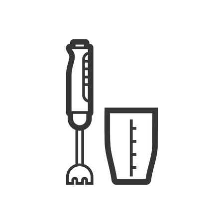 Hand blender outline single isolated vector icon. Kitchen appliances and electronics illustration on white background Vetores