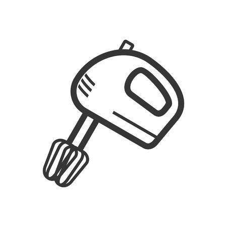 Hand mixer outline single isolated vector icon. Kitchen appliances and electronics illustration on white background