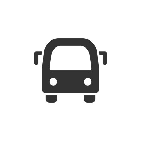 City bus front view vector glyph style icon. Marking of public transport stops.