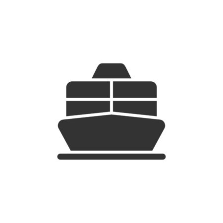 Cruise liner or ferry front view vector glyph style icon. Marking of public transport stops. 일러스트