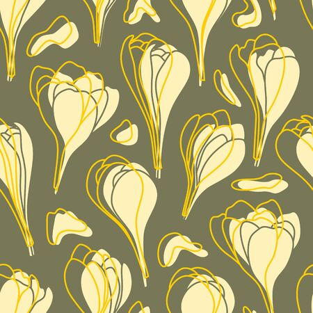 Yellow spring crocus flowers vector seamless pattern. Isolated illustration on dark olive background for wrapping paper and textile.
