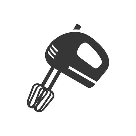 Hand mixer glyph single isolated vector icon. Kitchen appliances and electronics illustration on white background Vetores
