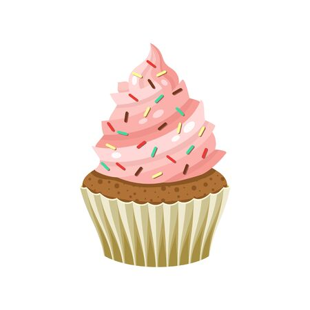 Yummy sweet cupcake with cream, color vector illustration. Original flavour and kind